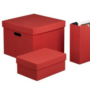 Boucle Storage Boxes Red Storage Boxes