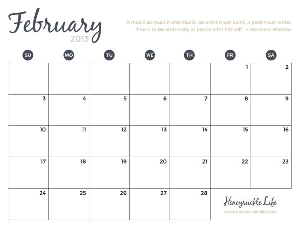 february printable calendar maslow