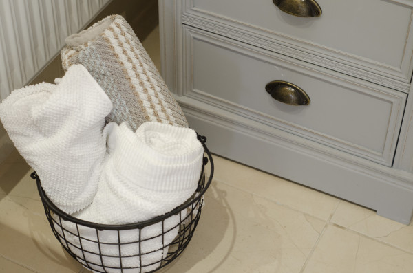 Towels In Wire Basket