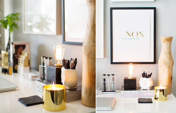 Merveilleux Black And Gold Office · Gold Candle